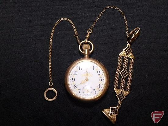 Waltham open face pocket watch, heavy Gold plate, crazing on porcelin face, not running condition;