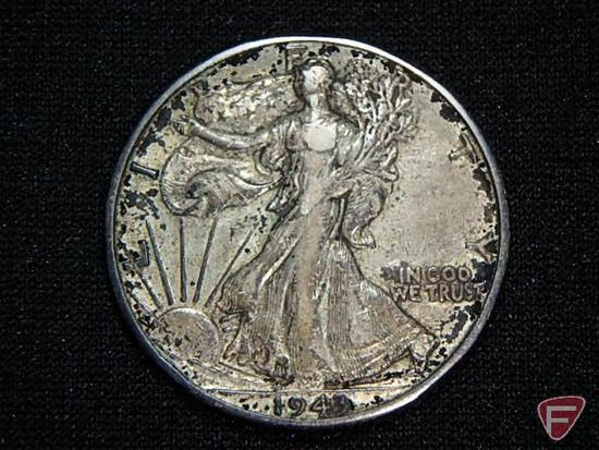 1943 Walking Liberty Half Dollar, common date, heavy toned, F or better