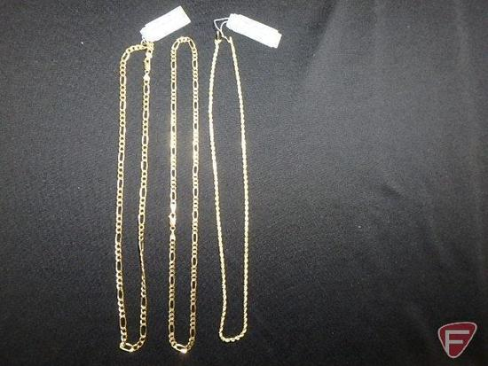 "14k yellow Gold rope necklace, 20""; and (2) 14k yellow Gold chain link necklaces, 20"" ea."