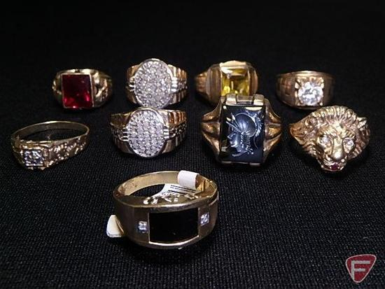 (9) men's 10k yellow Gold rings: lion's head, Dad's ring, yellowstone, red stone,