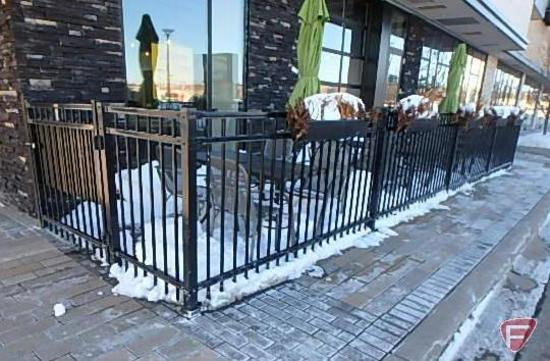 48'x4' Ameristar Montage Plus Majestic style ornamental steel fence with 4' walk gate with panic bar