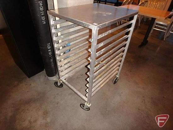 Half size aluminum pan rack with work space on casters, fits (10) full size sheet pans