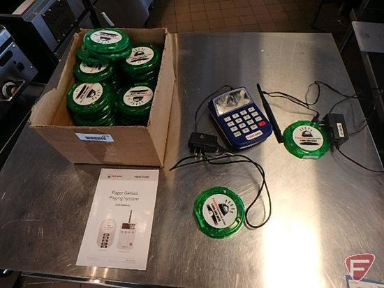 Pager Genius restaurant paging system: numeric keypad transmitter and (30) RC100 paging
