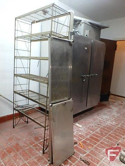 6 tier shelving unit and (3) stainless steel shelves