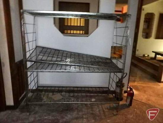 "4 tier wire shelf and (2) fire extinguishers, 60""x24""x64""H"