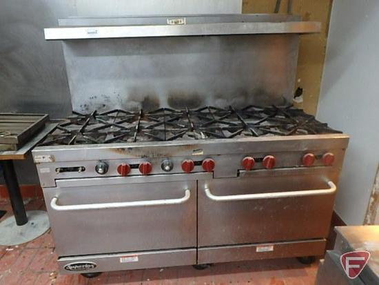"""Vulcan Superior 10 burner gas stove on casters, 60""""x31""""x58""""H"""