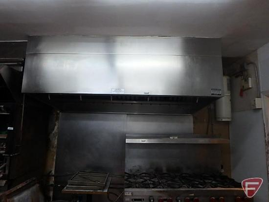 """Stainless steel exhaust vent hood with Badger fire protection, 96""""x48""""x29""""H,"""