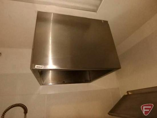 """Stainless steel exhaust vent hood, 36""""x36""""x27""""H, over dishwashing station"""