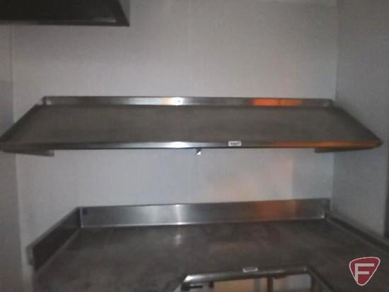 "Angled stainless steel shelf, 83""x23"""