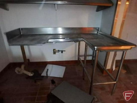 L-shaped stainless steel dish washing table