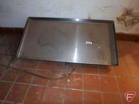 """Angled stainless steel shelf with drip hose, 42""""x21-1/2"""""""