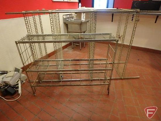 "Metro rack style 4 tier wire shelf, 48""x24""x87""H and 3 tier wire rack, 48""x12""x36""H"