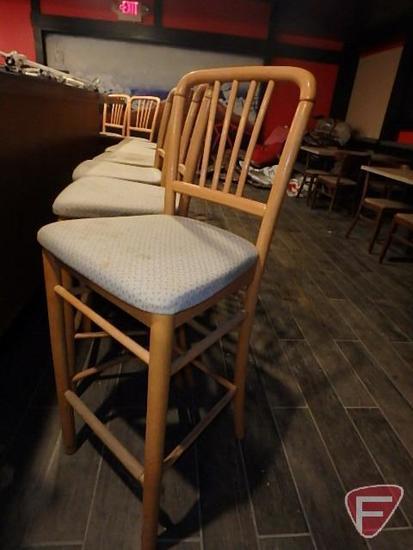 (13) wood cushioned tiki bar stools