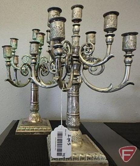 Silver candelabras, both