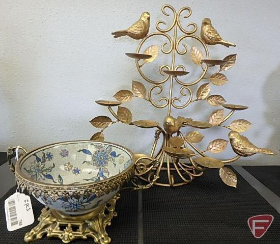 Bird and leaf metal candle holder with metal trimmed bowl, both