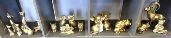 Brass animals: cats, owls, mice, bears, horse book end, bull, ram, & dog shelf hook, 19 pcs