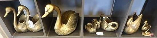 Brass swans, 9 pcs