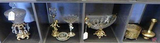 Glass and metal candy dishes, candle holders, jewelry box, and brass vase, 7 pcs