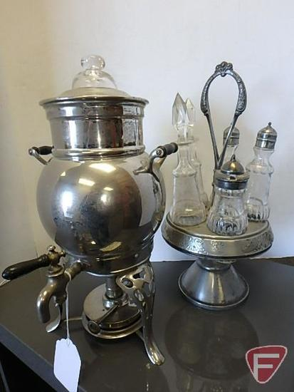 Kerosene heated coffee pot and vintage glass and metal condiment holder, both