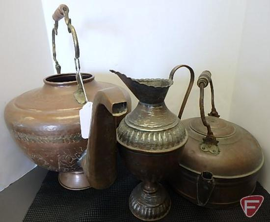 Copper pitcher and (2) kettles, one is missing lid, 3 pcs