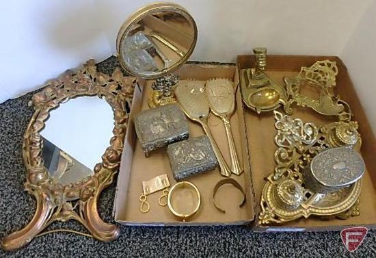 Hair brushes, bracelets, earrings, jewelry boxes, brass ashtray, brass pen holder, brass desk double