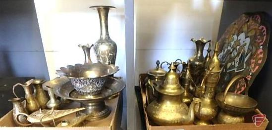 Brass etched items: incense burners, tea kettle, small pouring pitchers, vases, and more, both