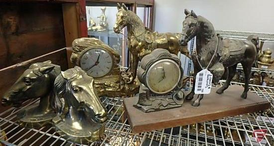 Horse bookends and (2) horse mantle clocks, one is made by W.M. L. Gilbert Clock Co., other is made