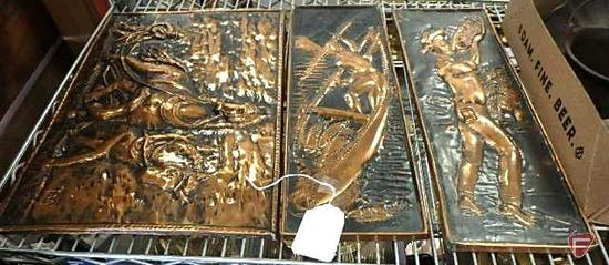 Copper relief wall hangings, one with horse, one with fisherman, and one with farmer, 3 pcs