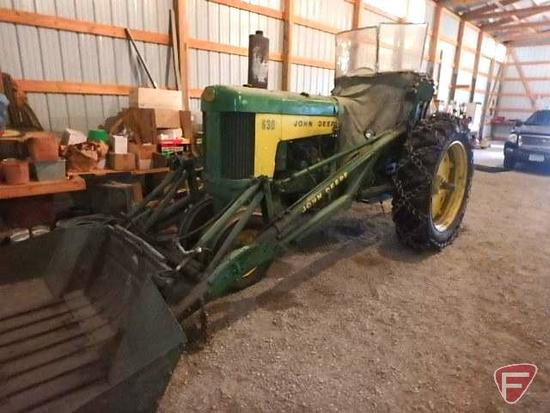 John deere 630 row crop tractor, power steering, 3732 hours showing, with full hydraulic loader