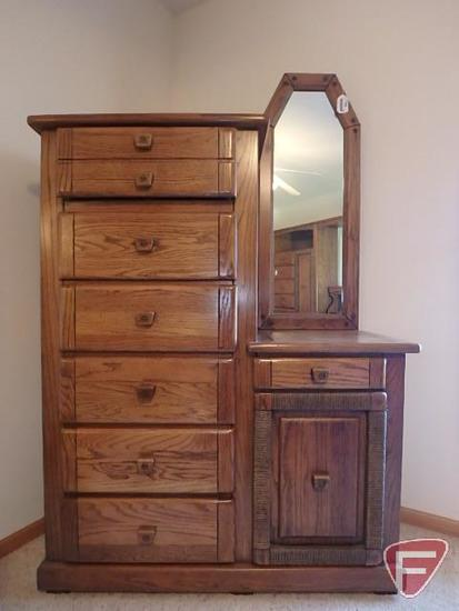 Harrison dresser with mirror, 72 in high x 43 in wide with drawers and storage