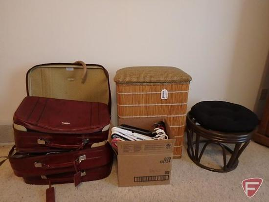 Hamper with closet cover, hangers, footstool, Samsonite luggage with ladies purses and belts