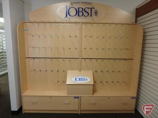 "Jobst merchandiser with hooks and 2 locking drawers, 96""x18""x77""H with 16""H top"