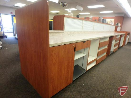 "Lozier pharmacy line wood grain style 261""W counter and merchandiser shelving 220""x18"","