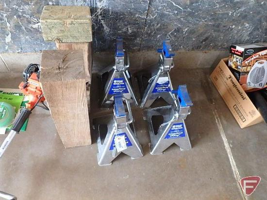(4) Goodyear Racing 6 ton jack stands, 1200lb rated capacity per stand and wood dunnage blocks