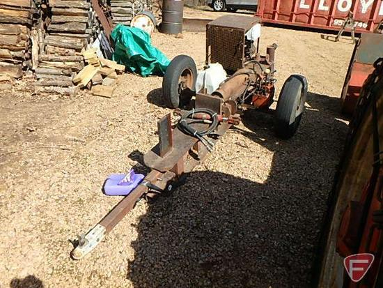 """Homemade wood splitter on single axle with Ventoux 4 cylinder gas engine, type 670-1; 24""""W split"""