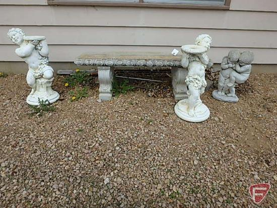 """Concrete lawn art: 50""""x15""""W bench and (3) statues 21""""H, 27""""H, and 26""""H"""