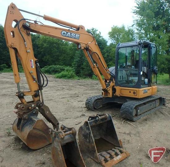Case MTS CX55B excavator with (3) buckets, 1242 hrs showing, PIN NFTN55434