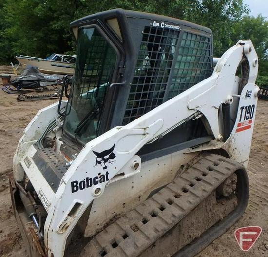 Bobcat T190 Turbo skid steer track loader, 1432 hrs showing, sn 527011196
