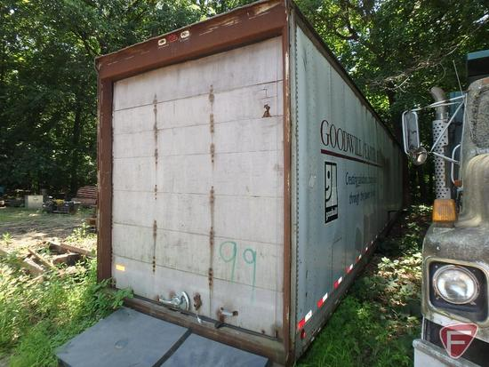 Fruehauf semi van storage trailer, no axle, no VIN, no title/registration