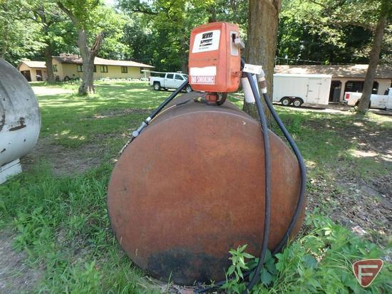 """500 gallon fuel barrel, 73""""Lx48""""H, and Gasboy electric pump"""