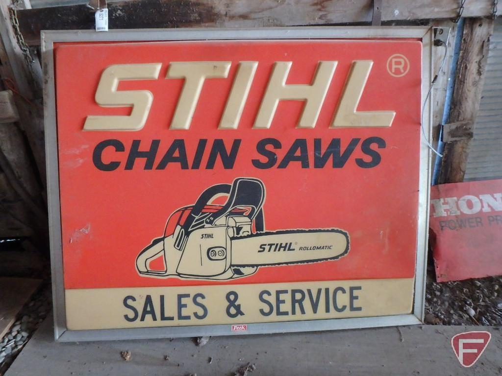 "Stihl Chainsaws Sales & Service double sided outdoor advertising sign, 61-1/2""x49""x4""D"
