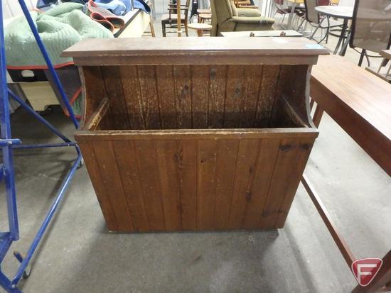 Cut wood storage box, 37inHx40inWx15inD