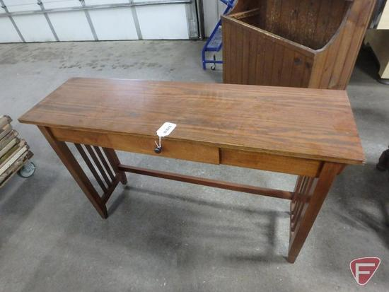 Wood sofa table with one drawer, 30inHx45inWx13inD