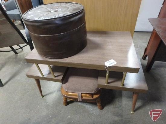 Wood footstool with detachable cushion, vinyl round ottoman, wood table 23inHx38inWx18inD. 3 pieces