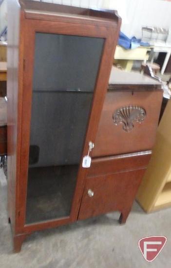 Vintage wood secretary desk with display cabinet, 57inHx35inWx11inD