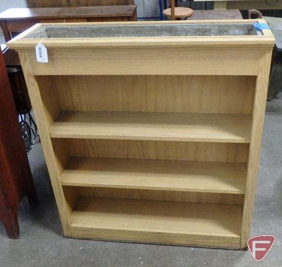 Wood book shelf with planter top, 41inHx37inWx11inD