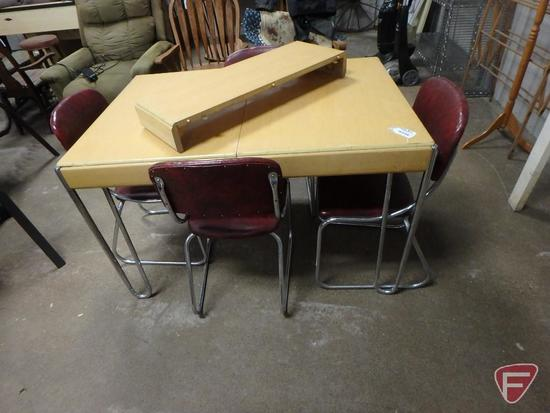 Vintage wood table with metal legs 32inX48in with one 11in leaf, and