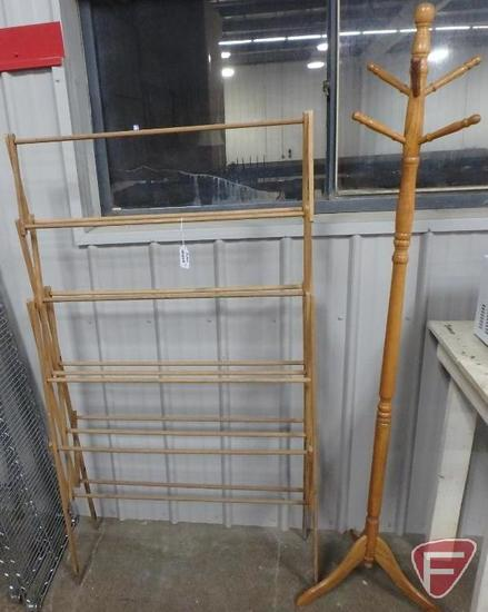 Wood folding drying rack and wood coat rack. 2 pieces