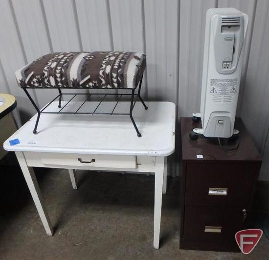 Wood table with one drawer and enamel top, upholstered footstool/bench,