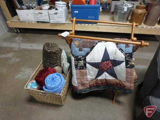 Wood blanket/quilt stand, woven basket, quilt and assortment of blankets/throws.